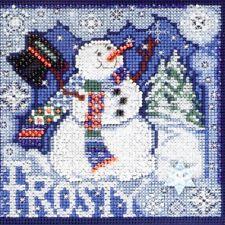 Frosty Snowman Cross Stitch Kit Mill Hill 2010 Buttons & Beads Winter