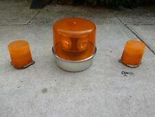 Vintage Tow Truck Wrecker Revolving Amber Cab Beacon Light Lamp Set