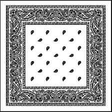 White Extra Large 100% Cotton Bandana Scarf Black Paisley 27 inch squa Headscarf