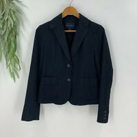 Banana Republic Womens Suit Jacket Blazer Size 6 Black Pinstripe Wool Blend