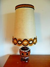 Retro West German Fat Lava Lamp Original Fabric Conical Lampshade with Braid
