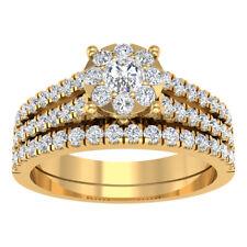 1.94 Ct Diamond 14K Yellow Gold Finish Engagement Ring Wedding Band Bridal Set
