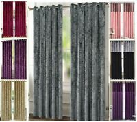 Crushed Velvet Curtains Pair of Eyelet Ring Top Fully Lined Ready Made thermal S