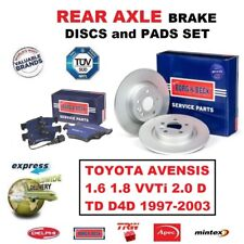 Para Toyota Avensis 1.6 1.8 2.0 D Td D4D 1997-2003 Eje Trasero de Discos Freno +