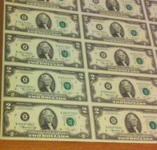 2009 Uncut Sheet $2 X 8 EARLY RELEASE - Crisp 2 Dollars *EXTREMELY RARE.*