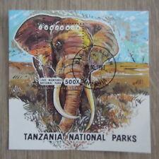 TIMBRES ANIMAUX : BLOC ELEPHANTS : BLOC OBLITERE DE TANZANIE / ELEPHANTS STAMPS
