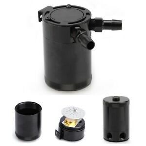 300ml Aluminum Breather Oil Catch Tank Reservoir Black Engine Baffled Fuel Can