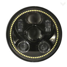 "Eagle Lights Gen III Black 5 3/4"" LED Headlight w White LED Halo Ring for Harley"