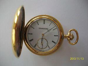Tourneau Pocket Watch -19 Jewel Gold Plated- Skelton-Roman Numerals Swiss Made