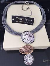 femmes Créateur GRIS COLLIER EN ARGENT OR Tri pendentif cadeau Bijoux GB