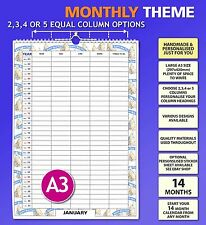 Choose 2 3 4 or 5 Column Large A3 Personalised Family Calendar Organiser Planner