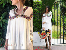 ZARA NEW FULL FLOWING EMBROIDERED DRESS WITH PUFF SLEEVES SIZE XS