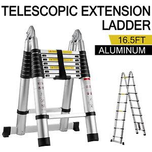 16.5Ft Aluminum Telescopic Extension Ladder Folding Step Multi-Use Non-Slip 5m