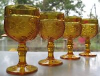 Tiara Indiana Glass 4 Amber Sandwich 4 oz Wine Goblets Glasses