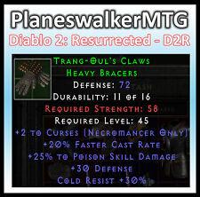 D2 D2R Diablo II Resurrected (PC) ✰ Trang-Oul's Claw Bracers ✰ +20% Faster Cast