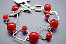 Classy Round Coral on Square Design 925 Sterling Silver Bracelet Toggle Clasp
