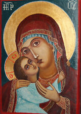 New listing Orthodox Tempera Wood Hand Painted Icon Jesus Child The Virgin Mary