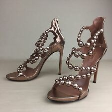 New ALAIA Bombe Pom Pom Rose Metallic Studded Leather Heels Sandals Shoes 38