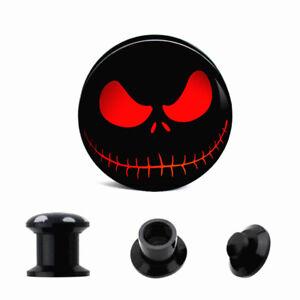 Pair Ghost Eye LOGO Skull Double Saddle Ear Plug Flesh Tunnel Stretcher Expander