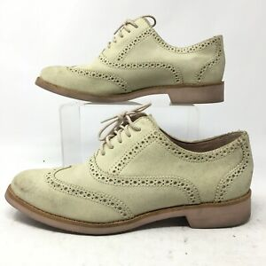 Cole Haan Womens 7.5B Alisa Wingtip Oxford II Dress Shoes Ivory Leather D39675