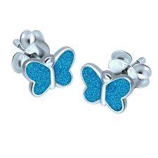 Kinder Ohrringe Schmetterling Glitzer Blau 925 Silber Mädchen
