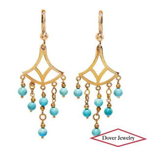 Italian Turquoise 14K Gold Chandelier Dangle Drop Earrings NR