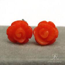 ● 8-9mm ● Stecker echt Korallen Rosen Ohrstecker orange ❤ Titan ❤