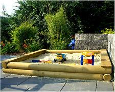 XXL großer Sandkasten 200x200cm 2x2m Rundholz Ø12cm Holz Sandkiste 2 m 200 cm