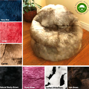 BEAN BAG Real SHEEPSKIN Chair, Sheepskin Cover with ZIP, Junior, Kids, Adults
