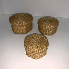 New Listing(3) Nesting Baskets Loop Lid Woven Baskets Small