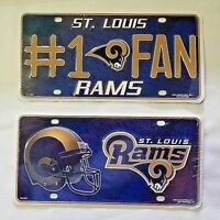 NFL St. Louis Rams Embossed Metal Car Truck Tag Auto License Plate Sign