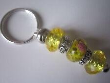 European Keyring / Bag Charm with Yellow Lampwork Beads - 7cm