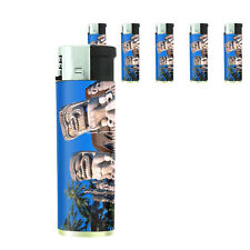 Tiki Statues D4 Lighters Set of 5 Electronic Refillable Butane Polynesian