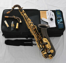 Professioanl Black Nickel C Melody sax Saxophone High F# ABALONE Shell +2 Necks
