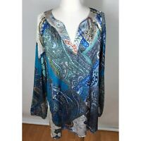 Chicos Size 3 Blouse Satin Top Long Sleeve Womens XL