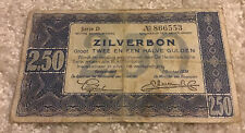 Netherlands Banknote. 2.50 Gulden. Dated 1938. Zilverbon. Series D. Pick 62.