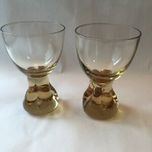Vintage Cocktail Whiskey Glasses Amber Color Fused Pinched Base Art Glass