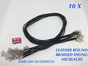 10 X LEATHER WAXED ROUND BRAIDED THONG NECKLACE CORDS LOBSTER CLASP JEWELLERY