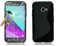 Samsung Galaxy Xcover 4 4s Case Silicone Bag Dark Case+Protective Foil Glass