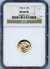 1936-S Mercury Dime 10C NGC MS 66 FB