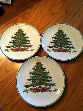 Very Pretty Christmas Vintage Set Of Three Porcelain Cake Snack Plates