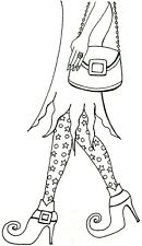 Halloween WITCH LEGS AND PURSE Wood Mounted Rubber Stamp NORTHWOODS NN10278 New