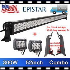 "52"" 300W LED Light Bar+Mounting Bracket for Jeep TJ Wrangler+4inch 18W CREE SALE"