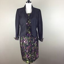 Le Suit Sheath Dress Suit Black Jacket Watercolor Floral Size 10 Green Black