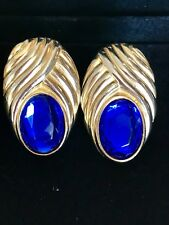 "1"" x 1 1/2"" Vintage Signed Elizabeth Arden Large Blue Glass Stones Clip Earrings"