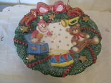 Fitz And Floyd  Christmas Dish Wreath Bear Drum Toys Essentials Plate Wall Hang