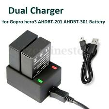 2 x 1680mAh AHDBT201 AHDBT-301 Battery Dual Charger Dock for Gopro HD HERO3 New