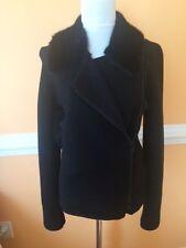 NWOT Rena  LANGE black wool bomber jacket mink collar size S