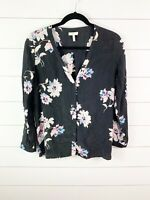 Joie Silk Michi Black Floral Long Sleeve Blouse Size Small Womens