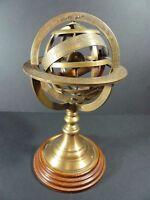 Armilliary Sphere Globe APARIS Chez G Gobille P Ache Royalle Brass and Wood